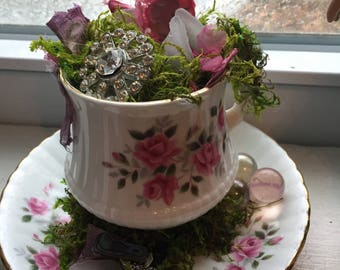 Fairy Tea Cup - Pink Roses