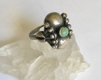 vintage Mexican turquoise and sterling ring, size 4