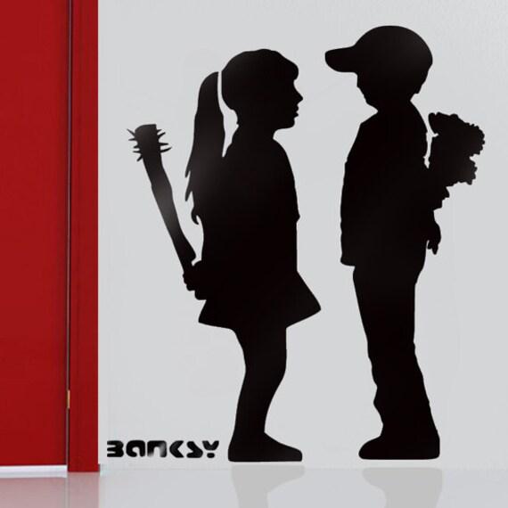 Banksy schablone boy meets girl mit bat wiederverwendbare - Schablone wandmalerei ...