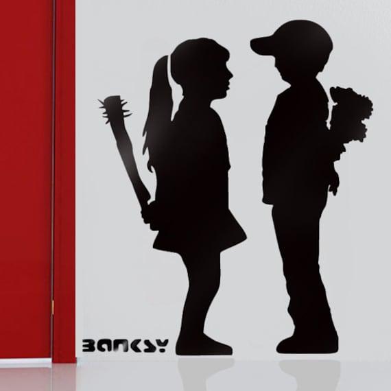 Schablone Wandmalerei banksy schablone boy meets mit bat wiederverwendbare