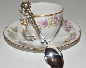 Vintage Sterling Silver Swedish Long Stem Rose Demitasse Spoon