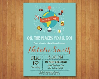 Travel Baby Shower Invitation. Oh the places you will go Baby Shower Invitation. World Travel Map Baby Shower Invitation. Printable Digital.