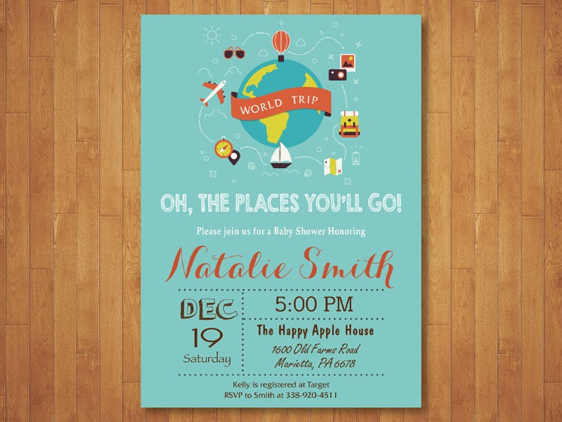 Travel Baby Shower Invitation. Oh the places you will go Baby