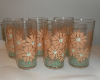 Vintage Retro Plastic Highball Glasses Daisy Picnic glassware VW Campervan x 6