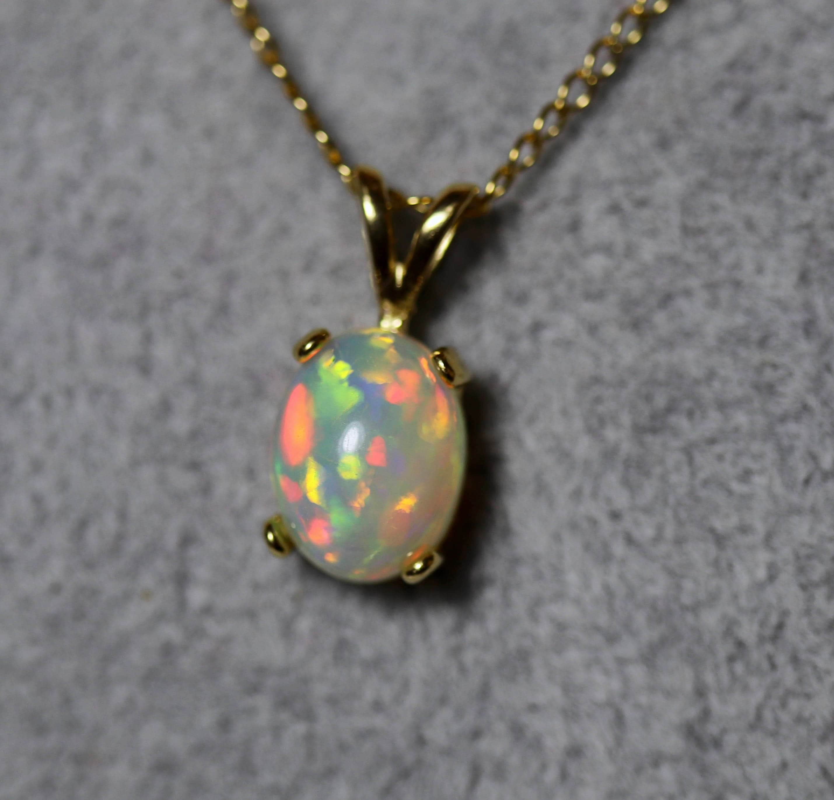 classic mm rare rainbow necklace fire colors glowing opal natural aaaa pin