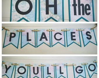 Oh The Places You'll Go Banner - Doctor Suess Banner - Graduation Banner Decoration - Baby Shower Banner Decoration