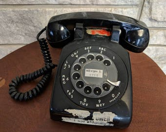 Vintage Black Rotary Phone - Old Black Rotary Phone - ITT Model 500 in Black with Clear Dial
