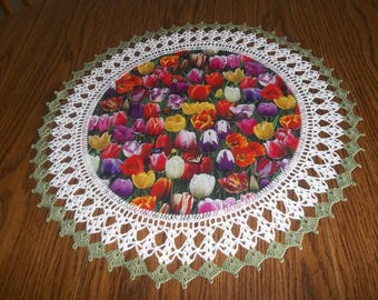 Crochet Doily Multi Colored Tulip Doily Crocheted Tulip Doily Fabric Center Handmade Doilies Lace Crocheted Edge Centerpiece Table Topper