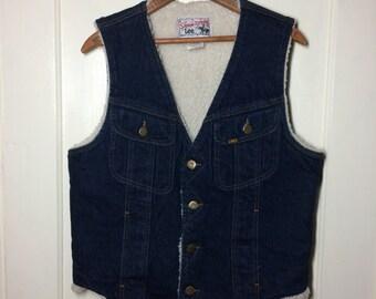 1980's Vintage Lee Storm Rider Fleece lined Blue Jean Denim winter Vest size 40R made in USA