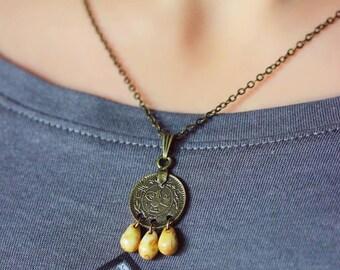 Bronze Drop Necklace Bronze Beaded Necklace Gypsy Necklace Boho Necklace Drop Necklace Coin Necklace Hippie Necklace Bohemian Necklace Boho