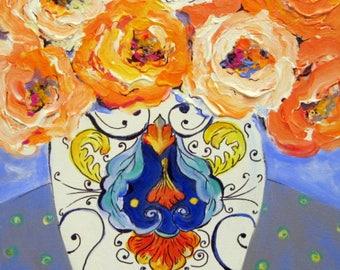 Tuscan Vase Original Painting 16 x 20 Art by Elaine Cory canvas art