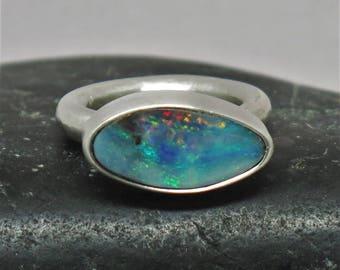 Sterling silver Australian Boulder opal ring. Australian Boulder opal. 925 silver ring .Natural opal ring. Size 6 1/2 US. Gemstone ring