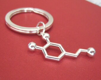dopamine molecule keychain - Love - in solid sterling silver
