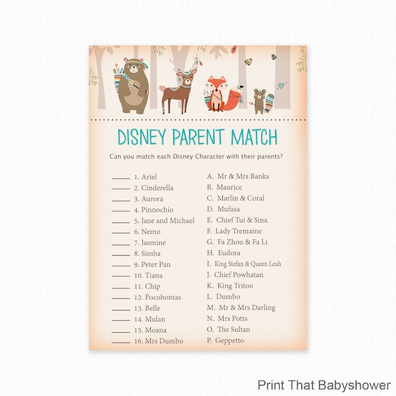 Baby Shower Games Disney Parent Match Game Disney