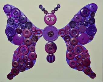 Button Craft KIT for Kids - Purple Butterfly