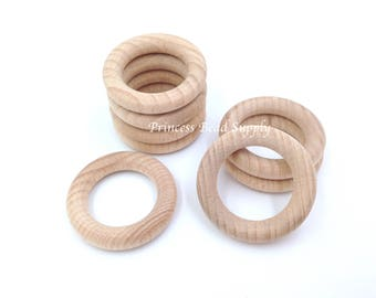"40mm Natural BEECH Wood Teething Rings,  1.5"" Natural Unfinished Round Wood Teething Rings,  Natural Wooden Rings, Wood Circle Teething Ring"