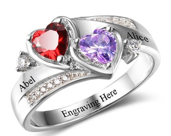 2 Birthstone Beautiful Hearts Antique Feel Promise Ring