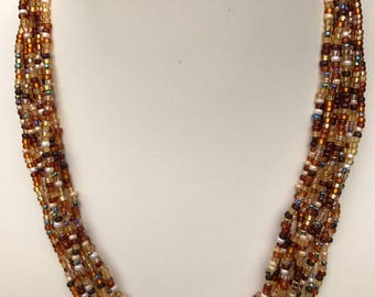 Amber Colors Multistrand Seed Bead Necklace