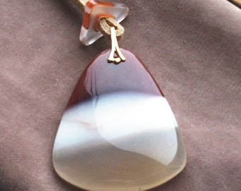 48x40mm Tri Colored Agate Focal Pendant with Cane Glass Bead Stopper on Suede