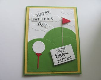 Fathers Day Golf Cards, Handmade Father's Day Card, Golf Tee Cards, Father's Day Cards, You're Tee-riffic Card, Golfing Cards, Golf Cards,