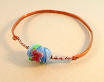 On sale -30% Copper Bangle Bracelet with Blue Glass Flower Bead