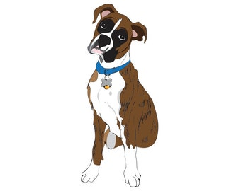 dog art custom dog artwork personalized dog art print pet drawing printable PDF illustration valentines day gift dog lover pet portrait
