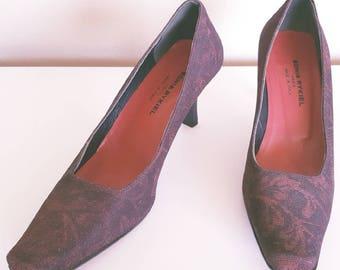 SALE | Vintage 1990s Sonia Rykiel Paris Red and Black Floral Lurex Heels Size 6.5
