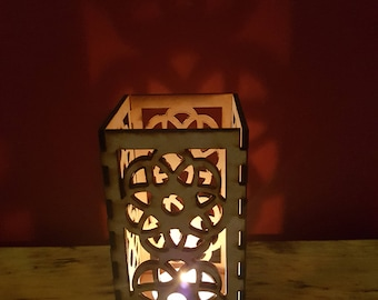 Large wooden laser cut flower tea light holder