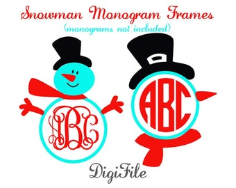 Snowman Frames for Monograms SVG, DXF, EPS, for Cricut Design Space, Silhouette, Sure Cuts A Lot, Makes the Cut, Vinyl Cutters