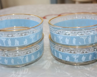Retro Blue Grecian Glass Snack Bowls, Party Bowls, 4-Piece Set