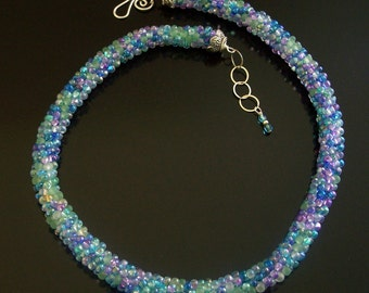 Ocean Colors Kumihimo Beaded Rope Necklace by Carol Wilson of Je t'Adorn