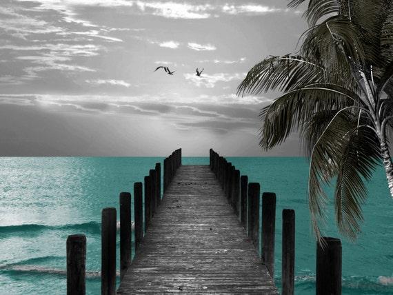 Black White Blue Beach Pier Palm Coastal Seagulls Bathroom
