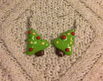 Miniature Christmas Tree Earrings
