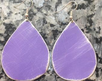 Purple earrings- lilac purple earrings- lavender purple jewelry - upcycled tin earrings