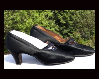 1920's Black Satin Pumps decorated with Blue Carnival Glass Beads, size 8-8-1/2