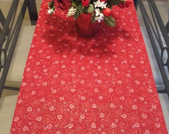 Valentine Table Runner, Reversible Valentine Table Runner,  Red and Pink Valentine Table Runner
