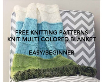 FREE Knitting Patterns, DIY KNITTING, Easy/ Beginner, Blanket Pattern, Striped Afghan, Blanket knitting