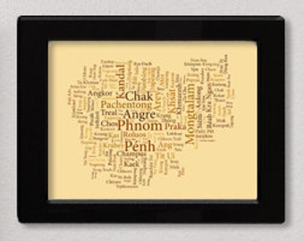 """Cambodia Typography Map Art Print - 11 x 14"""" // additional sizes available"""
