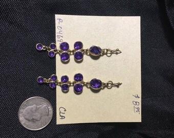 Earrings- Purple and gold dangles