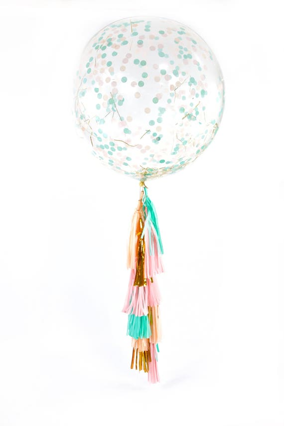 "36"" Jamboree Celebration Balloon, Giant Clear Balloon, Confetti Balloon, Tassel Balloon, First Birthday, Wedding Balloon, Pink Mint Gold"