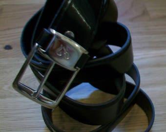 "Black Men's Belt with Silver Buckle, size 48""-52"""