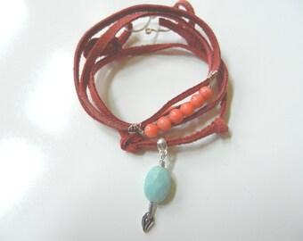 Boho coral and amazonite bracelet