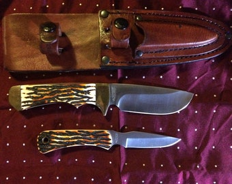 Schrade Uncle Henry 2 pc. Elk Hunter Caping Full Tang Fixed Blade Combo 301UH 182UH
