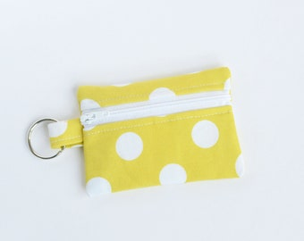 Ear Bud Pouch, Small Zipper Pouch, Credit Card Case, Sunny Yellow Polka Dots