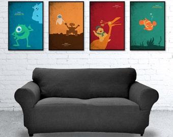 Walt Disney Pixar Poster Set, Monsters Inc., Finding Nemo, Up, Wall-E, Retro Poster
