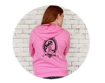 Roller Derby Hoodie, Skate or Die Skeleton Skater Hooded Sweatshirt in Bright Pink, Full Zip, Fleece Jacket, Rollerskating Roller Skating