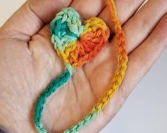 Rainbow Retro Heart Crochet Bookmark