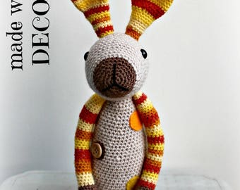 Beige Bunny rabbit plush handmade crocheted.
