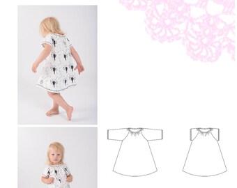 PDF- mönster Singoallaklänning med lång/kort ärm stl 50-140/peasant dress short/long sleeves sizes newborn-8/10