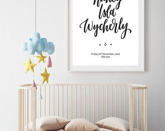 Customised Baby Name Print: Baby Girl Boy Hand Lettering Typography Nursery Wall Art